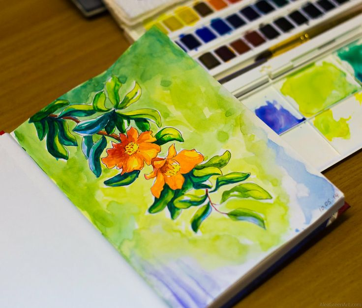 flowers by AlexGreenArt Watercolor Sketchbook