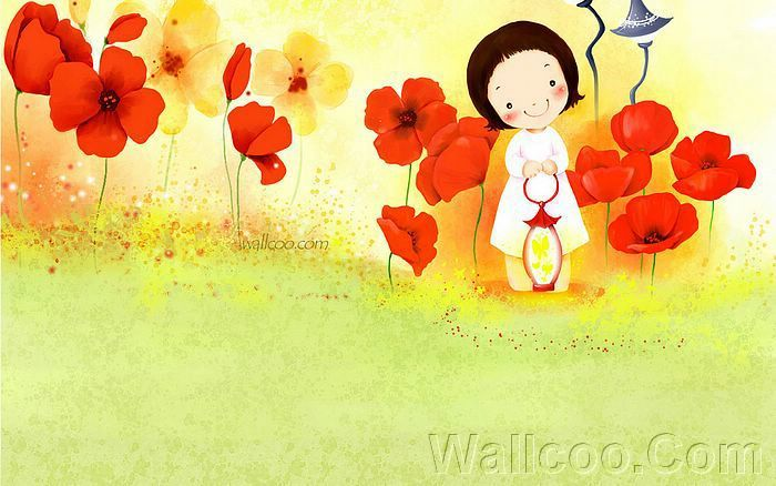 Kim Jong Bok Illustrations(Vol.03) - Cartoon Cute Fairy Girl  - Art Illustration : Cute little girl with beautiful flowers 8