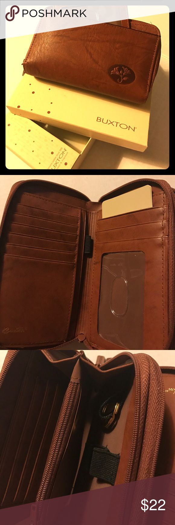 BUXTON WALLET, Genuine Leather, In Box, Never Used Brown leather - multiple card pockets - pull out ID sleeve - key ring attached - 2 zippered change pockets. Buxton Bags Wallets