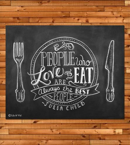 """Julia Child Quote Chalkboard Art Print 