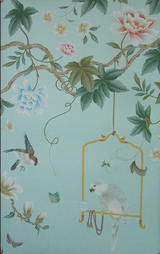 hand painted wallpaper, silk wallpaper, china wallpaper, grace silk wallpaper…