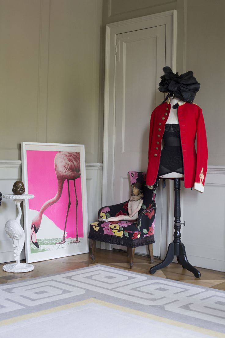 We love the chromatic clashes of red and pink in this shot of David Carter's boutique East London hotel. Aida's 'Flamingorama' is in pride of place #nellyathome #home #interiors #artonpinterest #flamingo #art See more: http://www.nellyduff.com/nellyathome/david-carter