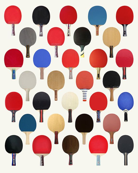 Vintage Ping Pong Paddle Racquet Poster Art by PigeonStudios                                                                                                                                                                                 More