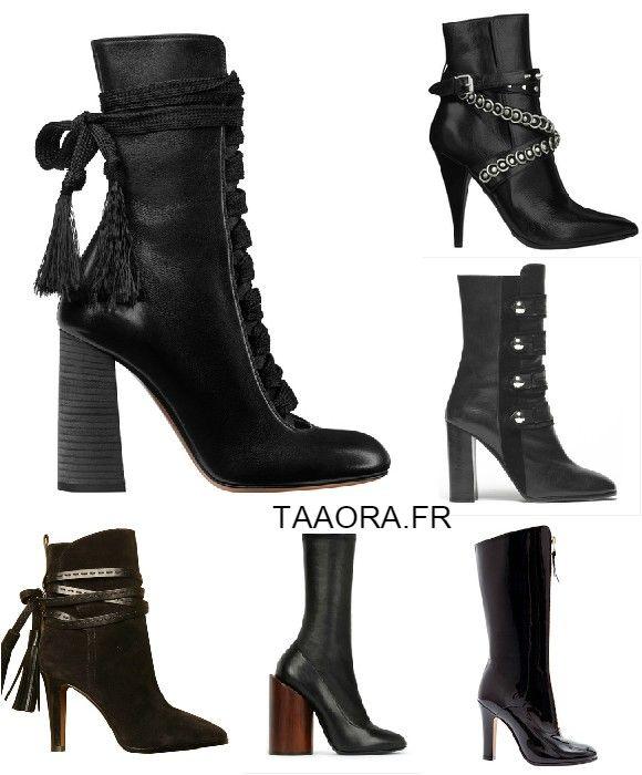 les boots montantes noires talons chaussures phares des d fil s automne hiver 2015 2016. Black Bedroom Furniture Sets. Home Design Ideas