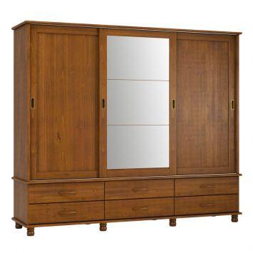 Guarda-Roupa Casal com Espelho Esmeralda 3PT 1418T Imbuia