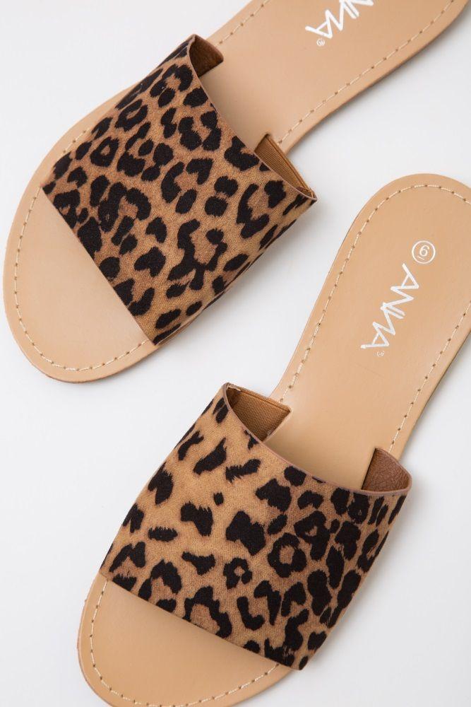 18c542411f10 Brown Cheetah Print Slide Sandals | Shoes in 2019 | Cheetah shoes ...