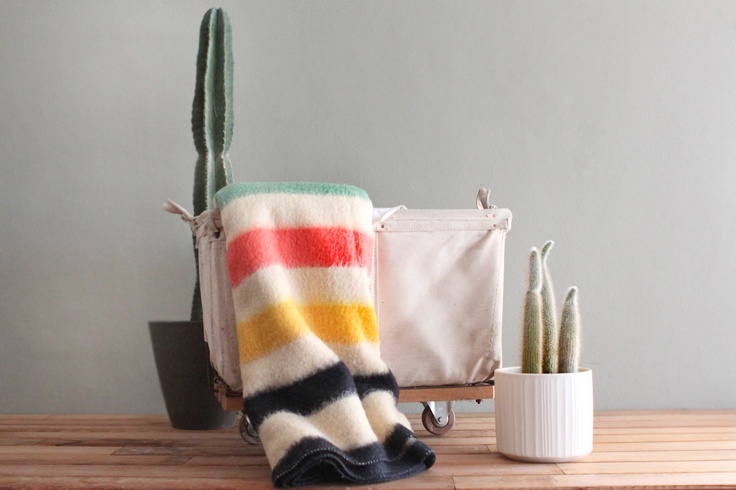 Vintage Wool Striped Golden Dawn Cabin Blanket. $128.00, via Etsy.