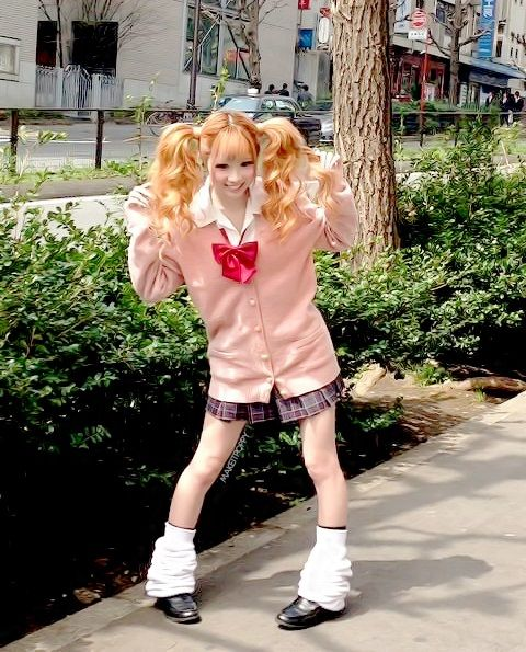 ○•SCHOOL GiRL~•○ school uniform - - cardigan - - bow tie - - loose socks  - - kogal - -  gyaru - - twintails - - cute - - kawaii