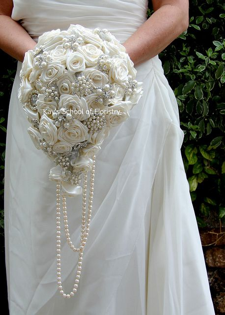 Teardrop Brooch Bouquet with Satin Roses  BY KAY'S SCHOOL OF FLORISTRY - www.kaysschool.com or visit our FACEBOOK PAGE - https://www.facebook.com/VintageBroochBouquet