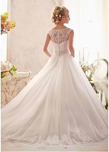 Elegant Tulle & Satin Jewel Neckline Natural Waistline A-line Wedding Dress