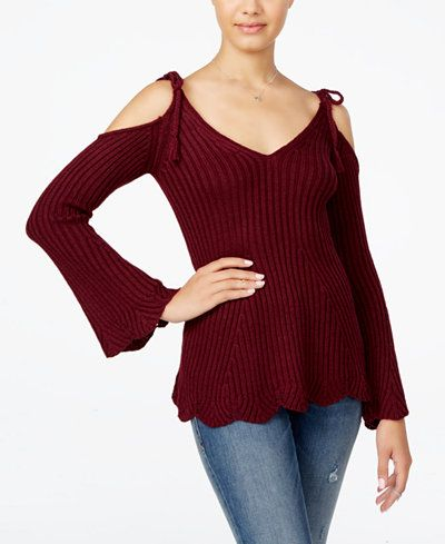 American Rag Ribbed Cold-Shoulder Sweater, Only at Macy's