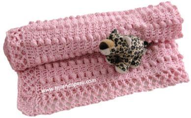 Cobija o manta para bebés tejida en dos agujas o palitos!