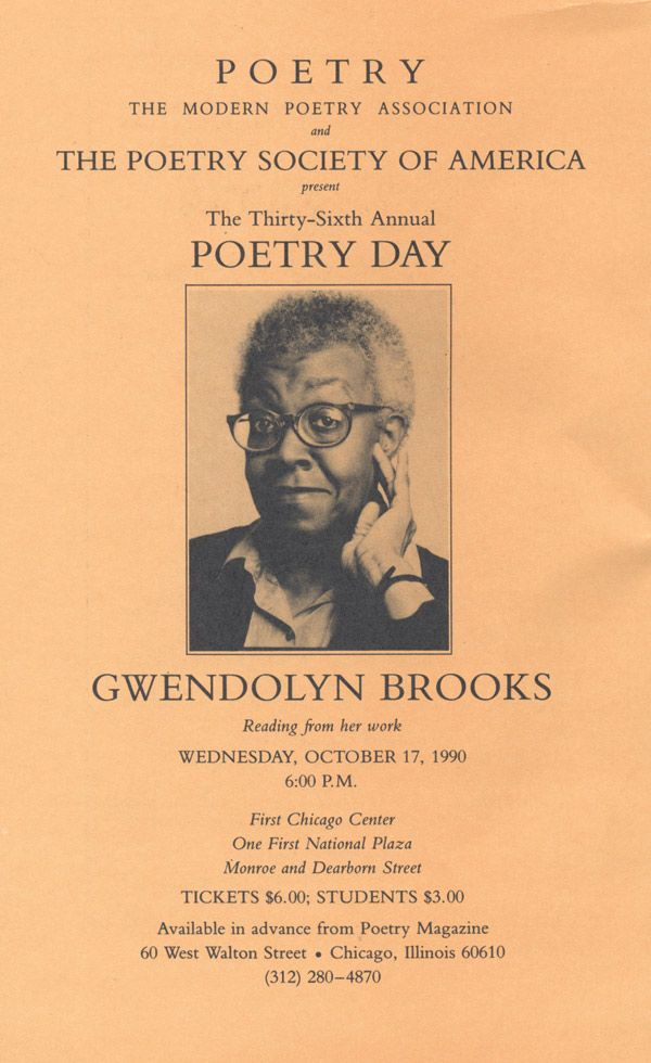an introduction to the history of african american poetry by gwendolyn brooks Introduction (pp 1-4) gwendolyn brooks is a major figure in american literature she has produced a body of work that extends over four decades yet, despite honors and esteem, it is mainly black scholars and critics who have accorded her poetry its due this study will, in effect, examine brooks's status and rank as one.