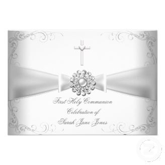 Girl First Holy Communion White Silver Announcements Zazzle_invitation