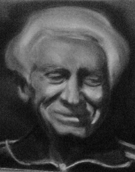 Grandad, white pastel on black paper