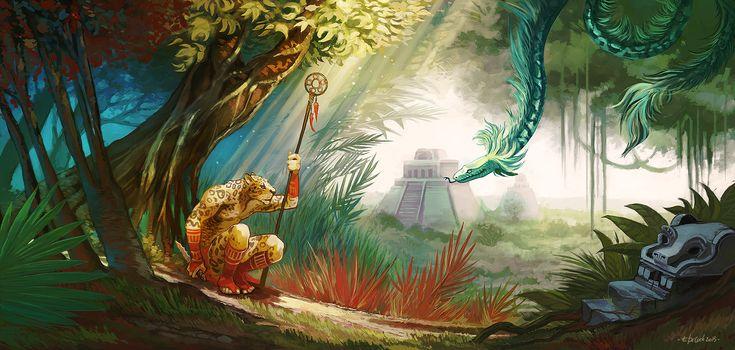 The Jaguar god and Quetzalcoalt by lamlok