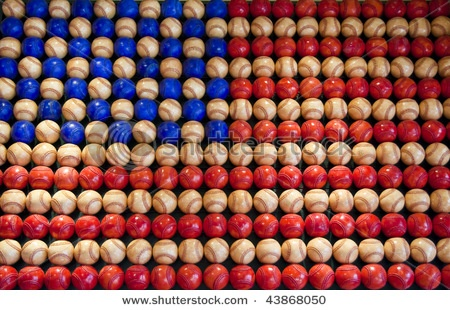 American flag made of baseballs. 35 blue balls, 125 white balls, and 100 red balls.