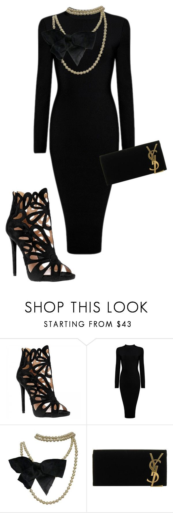 """Black."" by doo-x ❤ liked on Polyvore featuring Chanel and Yves Saint Laurent"