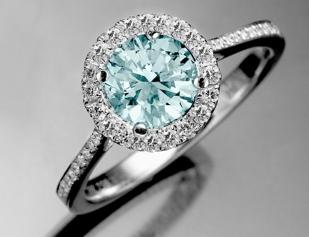 1.23 CT ROUND CUT DIAMOND ENGAGEMENT RING 18K - Fancy Colored Diamond Rings - Diamond Rings