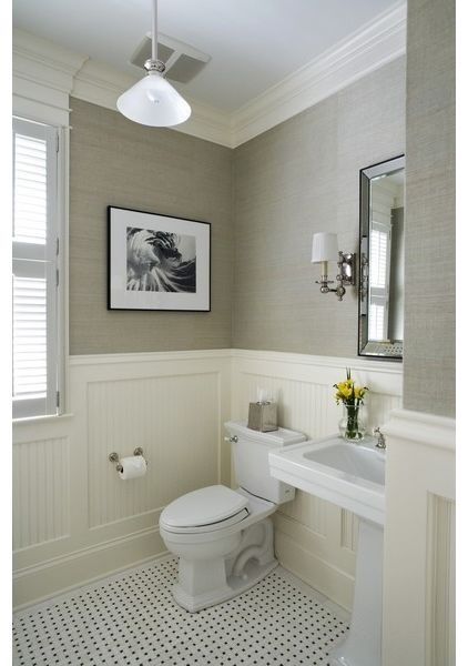 Beadboard and chandelier and sconces home decor for Small bathroom colors
