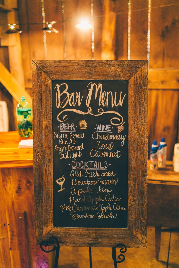 Rustic chalk menu | Apple Theme wedding |Abby & Nate | Barn at Cedar Grove | Caleb Irvin Photograhy