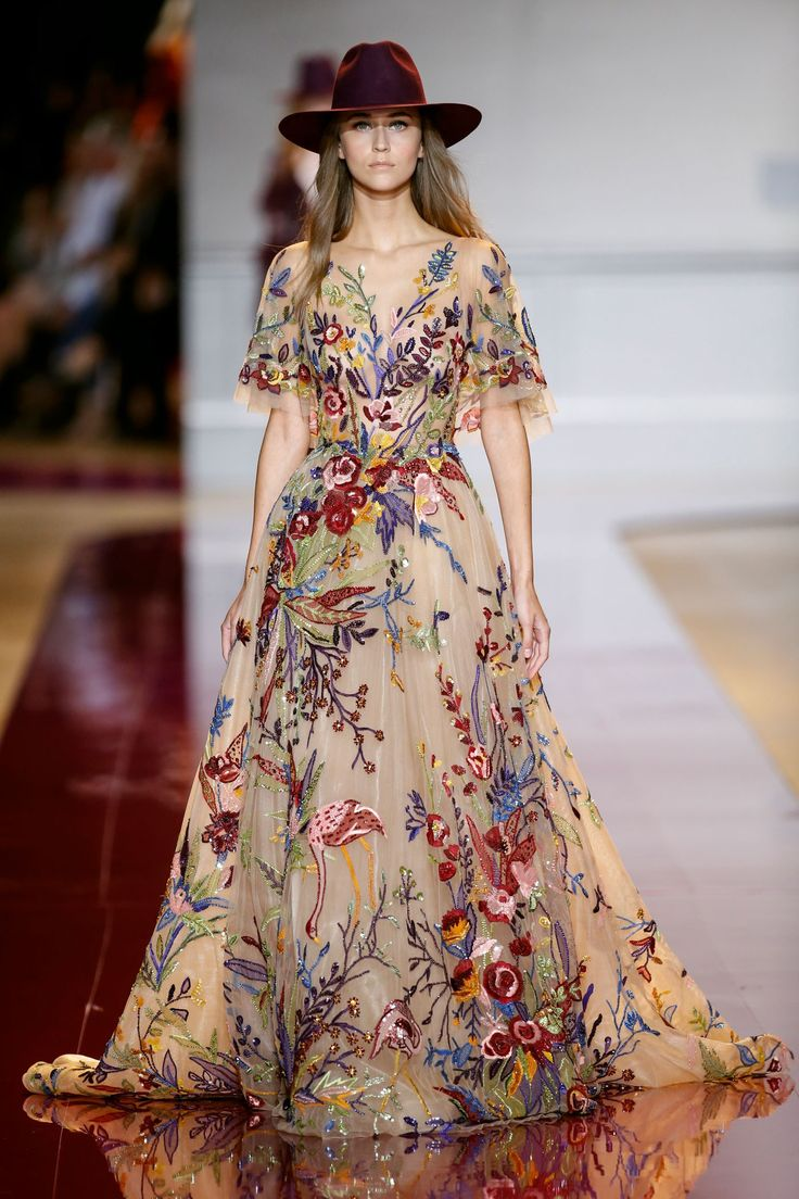 Modern dress casual - Flowy Dress In Nude Tulle Fully Beaded With Floral Motifs Adorned With A Small Cape
