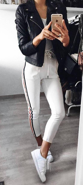 112 Damen Weiß Sneakers Outfit Idea