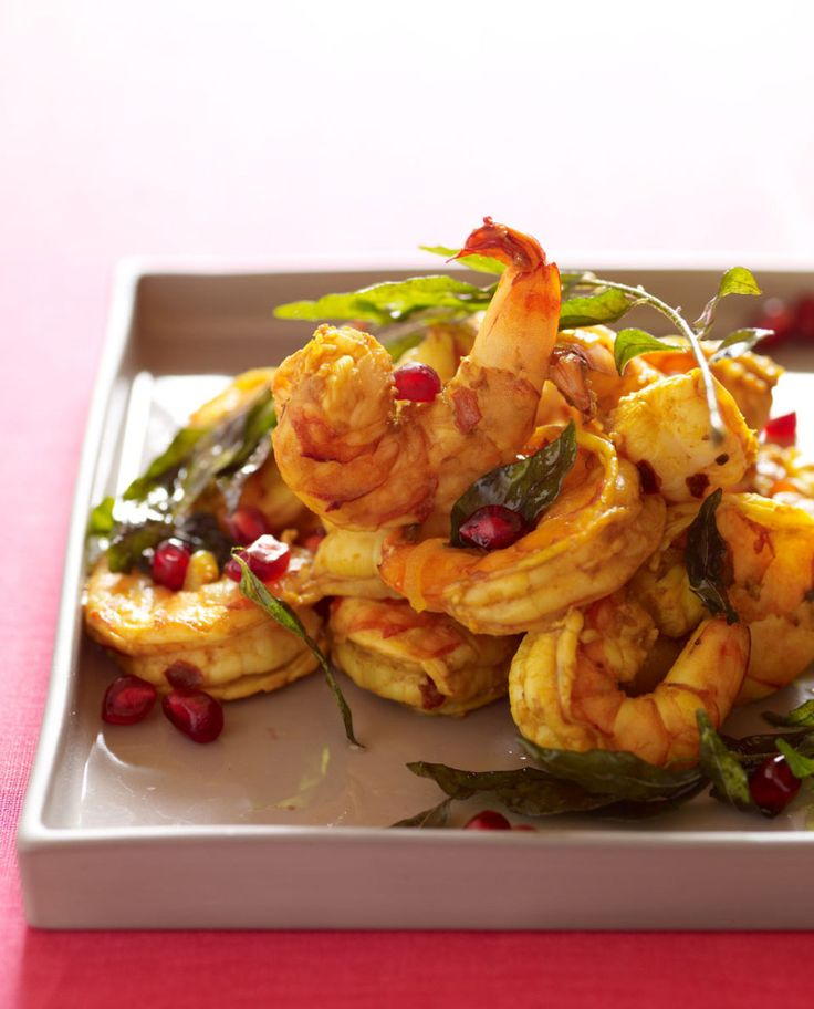 Pomegranate shrimp with curry leaves! So good and easy. Would be great for a dinner party
