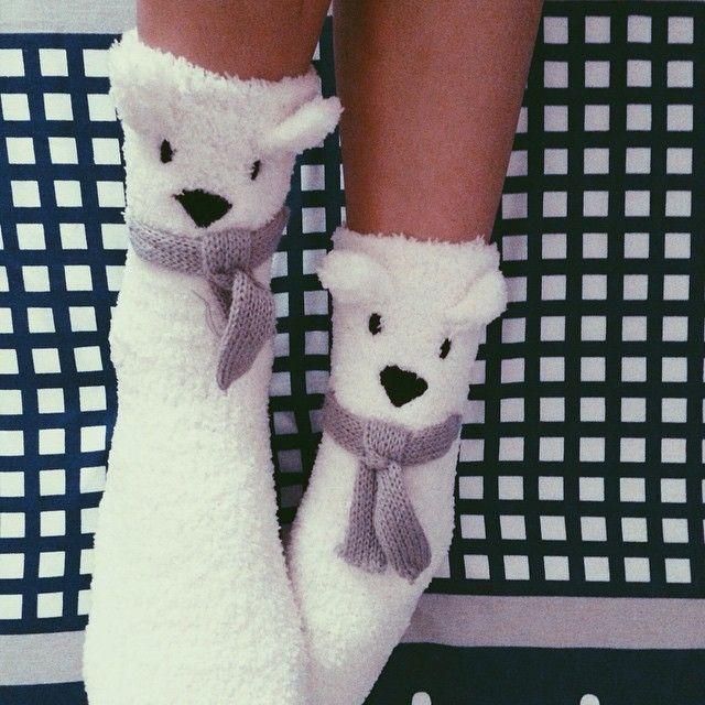 Fluffy socks to keep my feet warm! Thanks fishie!  #EtamSG #polarbearsocks