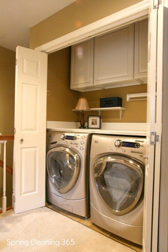 In my sewing room in the finished basement i would like my laundry set up like this but with open shelving above the washer and dryer instead of it being closed. then have the doors to the closet open and closed when needed.
