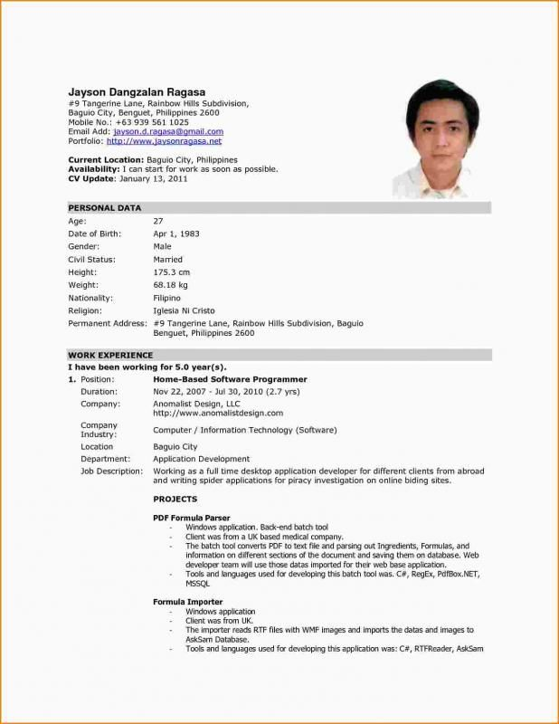 Work Abroad Resume Format For Abroad Job - BEST RESUME EXAMPLES