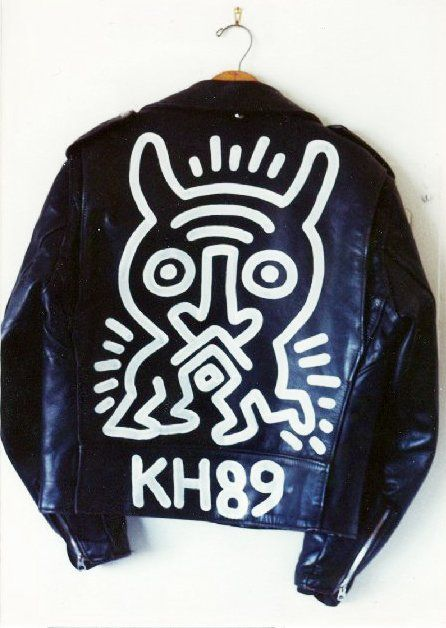 Schott Brothers Motorcycle Jacket. Classic black leather jacket... with a New York twist a la Keith Haring.