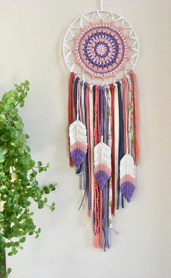 Prem  -Concept and Description- Thank you for coming to see my work, the concept is... Tibetan Mandala x Chakra Color x Native American Dream catcher. Mandala part is crochet by me. Inspiring colors are Pink, Purple and White.  Very sweet and tender colors and it has got crochet feathers.
