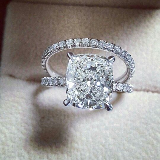 Details about 2.70ct Natural Cushion Pave Diamond Engagement Bridal Set - GIA…