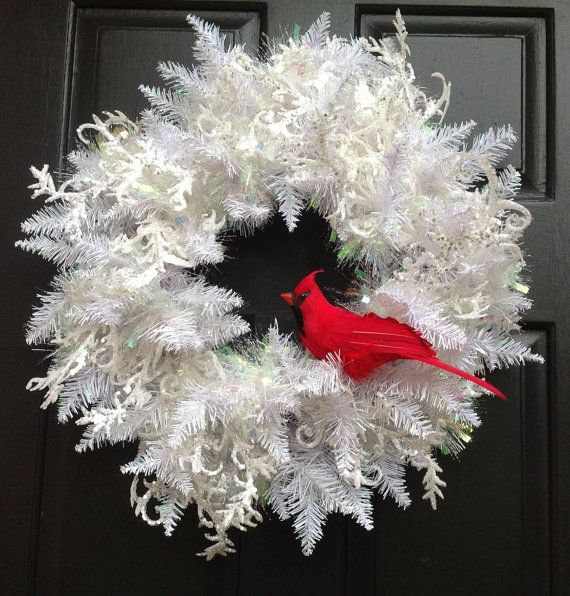 Winter White Christmas Wreath, holiday wreath with Cardinal, Christmas Door Wreath