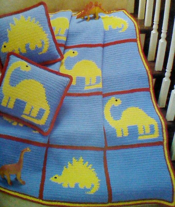 Vintage Crochet Dinosaur Afghan and Pillow Pattern