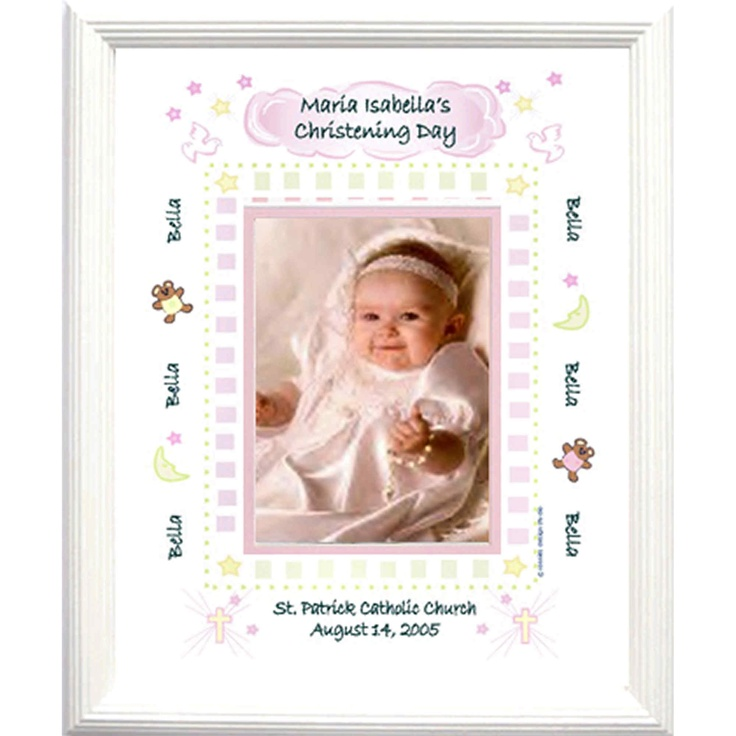 4495 Personalized Christening Picture Frame For Baby Girl