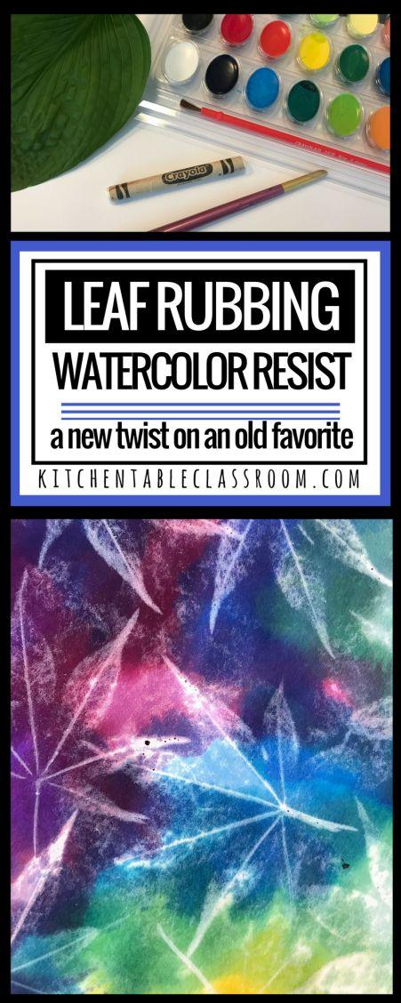 Watercolour resist leaf rubbing