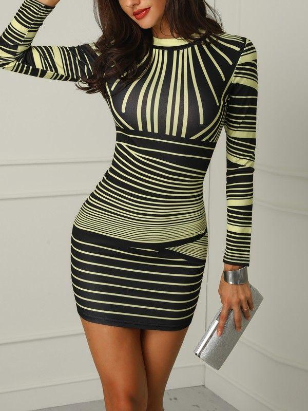 21ab73ecd3 Vestido ajustado a rayas color degradado