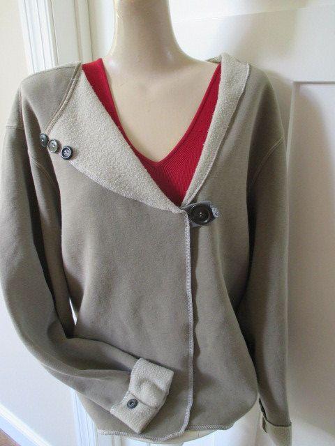 Sweatshirt Jacket Appliqued Sweatshirt by StitchesbyJulia on Etsy