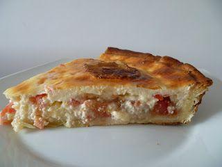 Quiche de cebolla caramelizada, tomate y queso de cabra