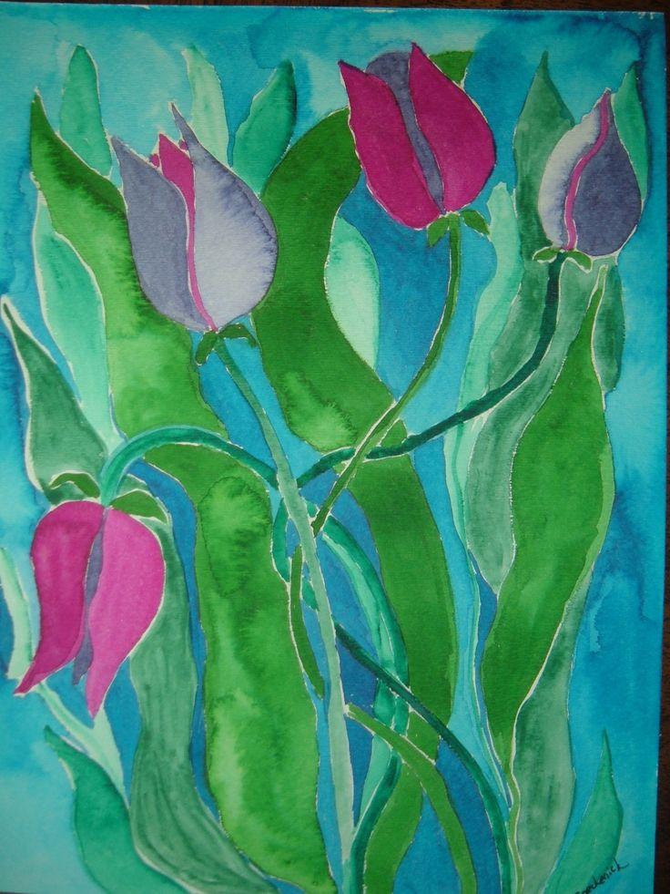 tropic tulips - watercolour