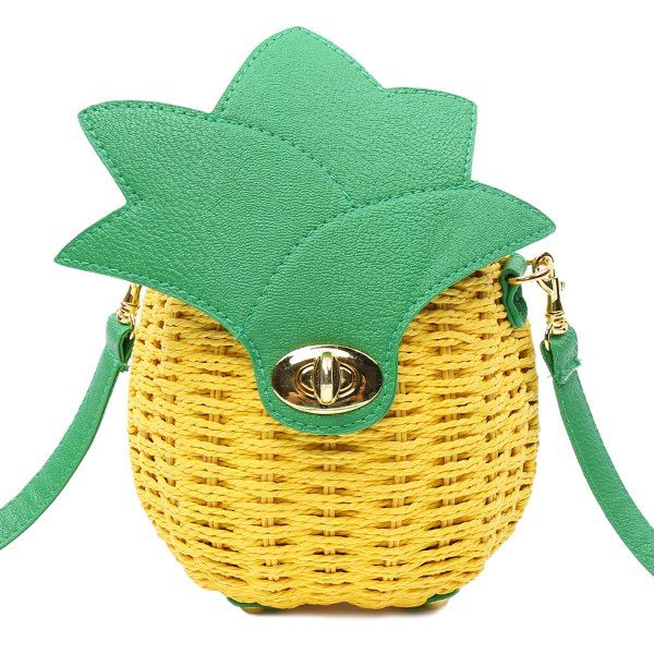 Summer Pineapple Shape and Weaving Design Crossbody Bag For Women | TwinkleDeals.com