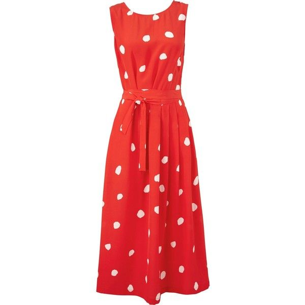 L.K. Bennett Penny Polk Dot Sleeveless Silk Dress (£165) ❤ liked on Polyvore featuring dresses, silk dress, cocktail dresses, silk evening dresses, special occasion dresses and polka dot cocktail dress