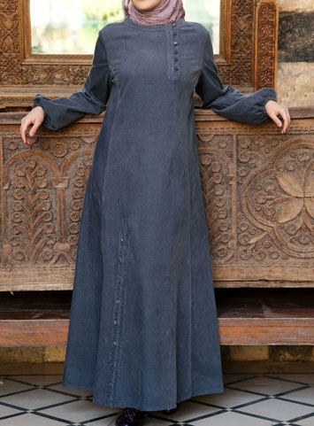 Omera Dress- from SHUKR Islamic Clothing.  Long dress with buttons