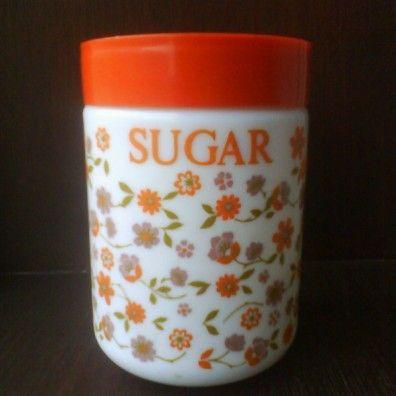 Retro Arcopal Pyrex Floral Sugar Storage Jar