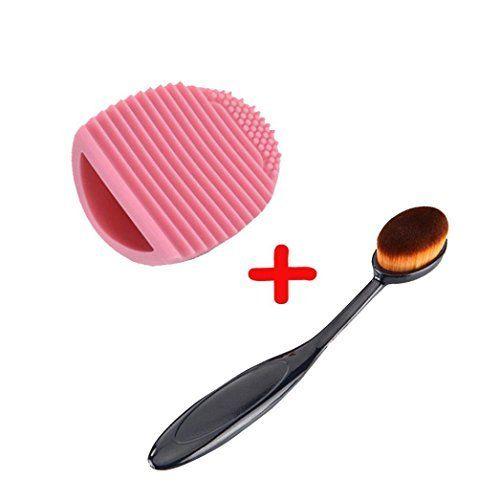 1pc pinceau de maquillage + 1pc Brushegg nettoyage Oval cosmétiques Fondation poudre Brosses à laver Silica Cosmetic Clean Outils Set…