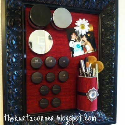 he Makeup Magnet Board  {tutorial}  What you'll need:  1. Picture frame  2. Metal sheet (get it at Lowes)  3. Hot glue  4. Scissors  5. Fabric  6. Magnets  7. Makeup brush cup  8. Metal cutting shears
