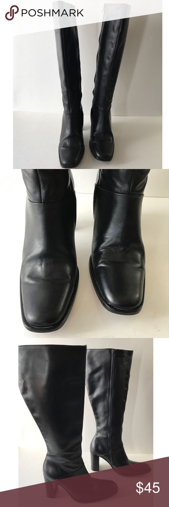 J. Crew Black Leather Round Toe Side Zip Boot J. Crew Black Leather Knee Boots  Round Toe  Side Zip  Leather Upper  Leather Lining  Heel Height 3-1/2 inch  Size 7-1/2M J. Crew Shoes Heeled Boots