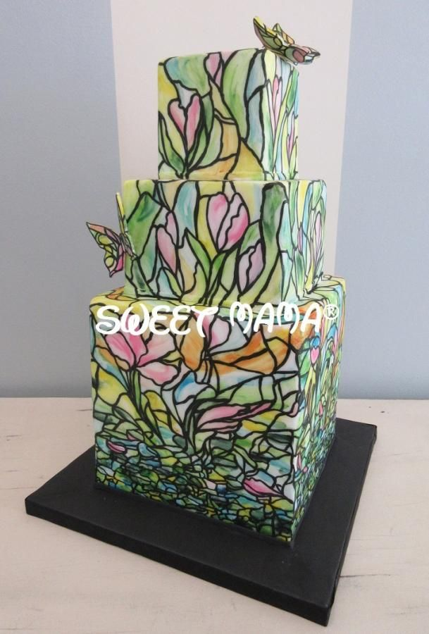 Rose Stained Glass Wedding Cake